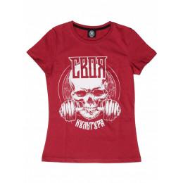 Женская футболка Своя Культура «СК» бордо